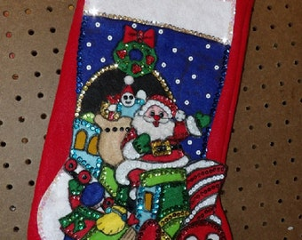 Handmade finished felt & sequin Christmas stocking with Santa on a train with presents and kids waving hello - FSK41