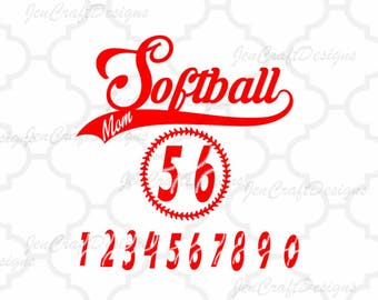 Softball Mom SVG Design Bundle Numbers Stitches monogram Frame svg cut files for Silhouette, Cricut Vinyl craft Cutters, Svg, Eps, Png, Dxf