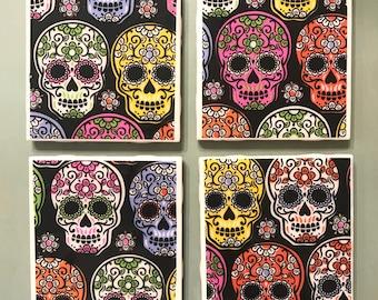 Sugar Skull Day of the Dead theme ceramic coaster set of 4