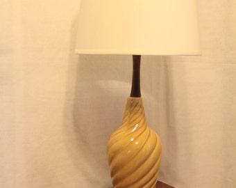 MCM Table Lamp Wood and Ceramic