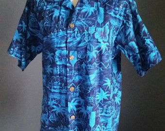 Authentic 50s Royal Hawaiian button up shirt, mens Medium Deep tones of blue & gold surfers, Mint cond. summer beach bum Made n Hawaii