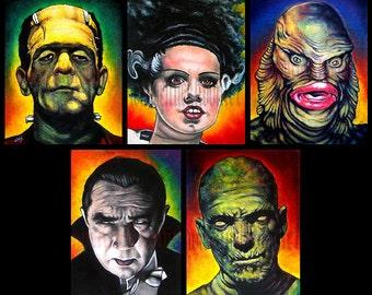 "Prints 8x10"" - Monsters - Classic - Set of 5 - Horror Dark Art Frankenstein Dracula Mummy Wolfman Vintage Spooky Halloween"