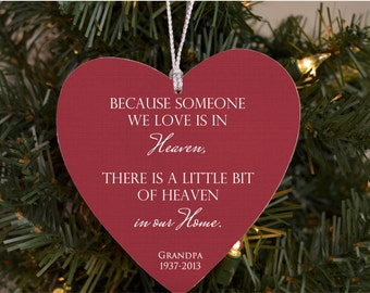 Memorial Christmas Ornament Because someone we love is in Heaven Ornament in memory of loved ones memorial gift