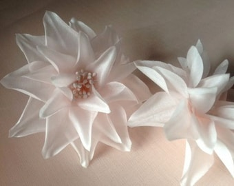 Blush Pink Flower Dahlia Silk Millinery Flower for Bridal, Hats, Corsages, Wrists, Bouquets MF 66
