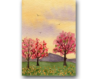 ACEO watercolor SPRING  original painting SFA miniature dollhouse mini landscape