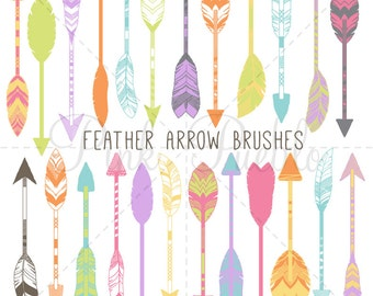 Tribal Feather Arrow Photoshop Brushes, Rustic Arrow Photoshop Brushes - Commercial and Personal Use