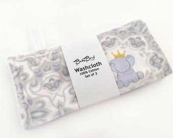 Baby Washcloth // Elephant // Baby Wipe // Baby Shower Gift // Reusable