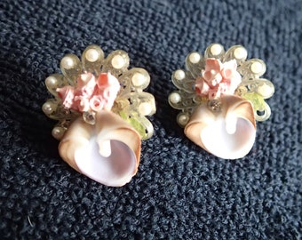 Shell & Faux Seed Pearl Screw-back Earrings