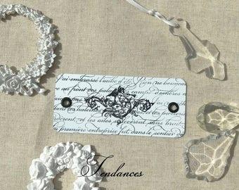 Flexible metal tag 2 hole print vintage Angel writing