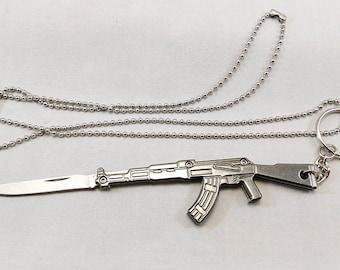 AK47 Knife Necklace Key Chain Folding Knife Pendant