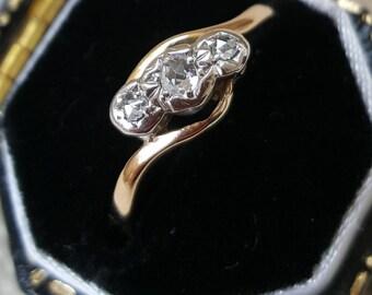 Vintage Rose-Cut Diamond Gold Trilogy Ring