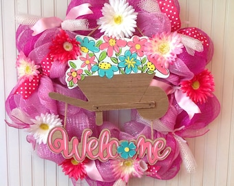 Summer deco mesh wreath, spring deco mesh wreath, summer wreath,  pink deco mesh wreath, garden wreath, gerber daisy wreath, welcome sign