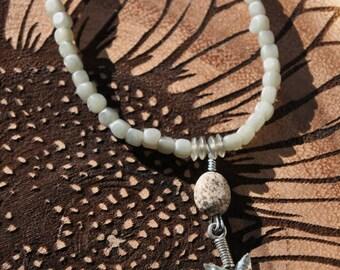 Green Beaded Bracelet with Arrowhead Pewter Charm