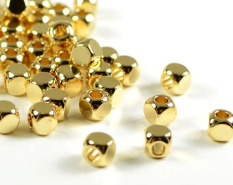 Round Cube Beads, 4mm, Tarnish Resistant Beads, 22k Gold Plating, Solid Brass Beads, Lead Free, Large Hole Beads, 2.6mm