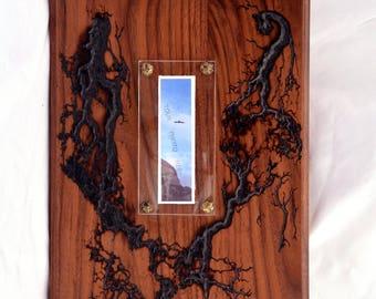 Wood Photo Frame Solid Walnut-Fractal Burning Wood Art - Wall Art, Lichtenberg figures, OOAK