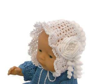 White crochet bonnet, christening baby bonnet, baptism baby bonnet, crochet christening bonnet, baby dedication hat, baby white lace bonnet
