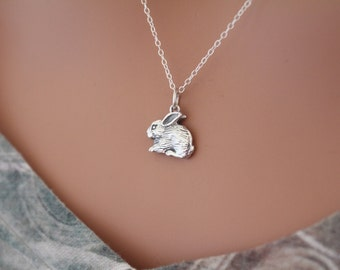 Sterling Silver Bunny Charm Necklace, Bunny Necklace, Silver Bunny Necklace, Realistic Bunny Rabbit Necklace, Bunny Rabbit Necklace