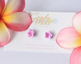 Frangipani Plumeria Studs - Handmade Handcrafted Polymer Clay Earring Studs Mauve Pink