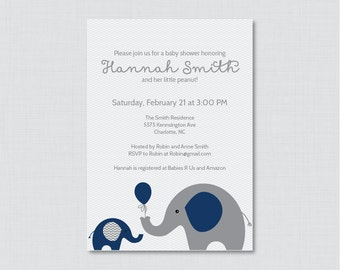 Elephant Baby Shower Invitation Printable or Printed Invite - Elephant Baby Shower Invites in Navy Blue and Gray Chevron, Baby Boy - 0024-N