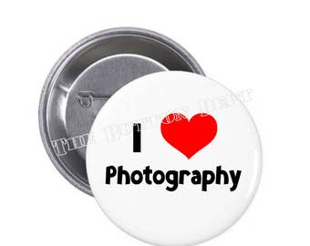 I [Heart] Love Photography Pinback Button Camera Career Photographer Film Communications Picture Amateur Pride