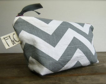 Gray Chevron Cosmetic Bag, Chevron Makeup Bag, Bridesmaid Gift, Mother's Day Gift, Chevron Toiletry Bag, Gray Chevron Pouch, Travel Bag