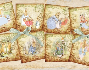 "Peter Rabbit Digital Download 4"" x 4"" Cards Beatrix Potter Peter Rabbit Graphics, Images, Clipart, Instant Download Personal/Commercial Use"