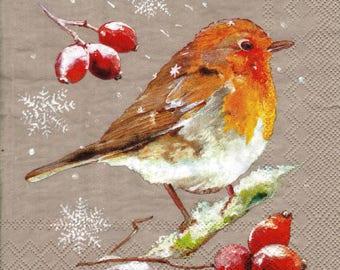 BIRD in winter 053 1 lunch size paper towel