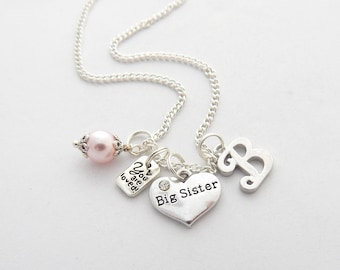 BIG SISTER NECKLACE-New Big Sister Gift-Personalized Big Sister Necklace-New Sibling-Future Big Sister Gift Holiday Kids Sale-Sister Jewelry