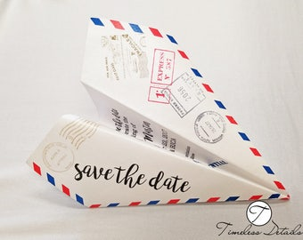 Paper Air Plane Save-the-date Wedding Invitations