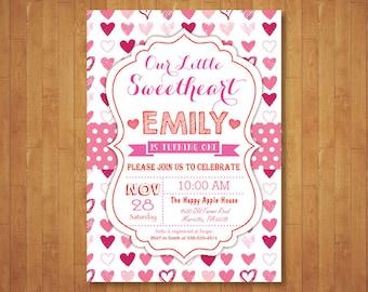 Valentine Birthday Invitation. Our Little Sweetheart Birthday Invitation. Girl or Boy 1st First Birthday Party. Printable Digital.