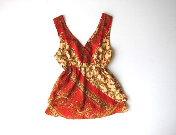 90s SILK India Tank Top Red Peach Floral Slip Blouse Sleeveless Plunge Neckline Boho Hippie Empire Waist Top Vintage Womens Small Medium