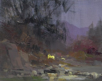 Small oil painting, Landscape canvas wall art, Abstract landscape art winter scene nature artwork evening oil art