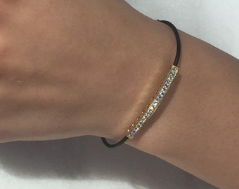 Black and Gold Bracelet-Leather Bracelet-Micro Pave Bar Tube