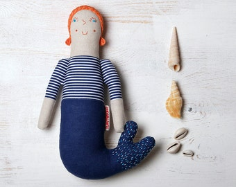 Mermaid, Mermaid doll, hand-embroidered doll, Dolls, cloth doll, natural doll, hand embroidery, merbaby, Mermaid Fabric Doll