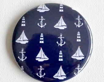 Boat Fridge Magnet. Ship Ahoy! Fridge Magnet. 58mm fridge magnets with a boat lighthouse and anchor pattern