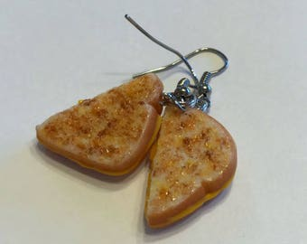 Grilled Cheese Dangle Earrings, Polymer Clay Jewelry, Food Jewelry