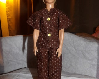 Handmade brown & white dotted pajamas for Male Fashion Dolls - kdc37