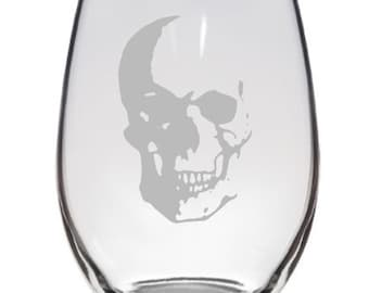 Etched Wine Glass, Skull Wine Glass, Wine Glass Etched With Skull Design