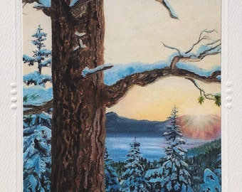 ART GREETING CARDS Set of 5 Artist Winter Heavenly mountain Resort Lake Tahoe envelope, art print Christie Marie E Russell ©