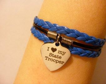 State Trooper bracelet, state trooper jewelry, police wife bracelet, police wife jewelry, police bracelet, police jewelry, fashion bracelet