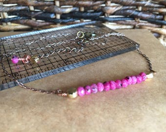 Hot Pink Faceted Agate Bar Necklace, 18inches - 20 inches