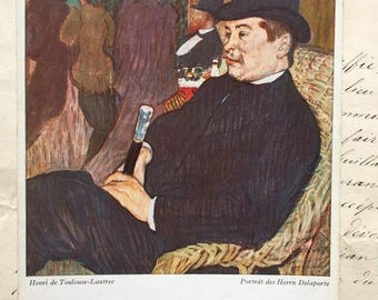 Toulouse-Lautrec Painting * Art print on Vintage Postcard * Portrait of Mr. Delaporte