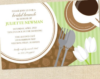 Sweet Wishes Mint & Chocolate Bridal Brunch Invitations - PRINTED - Digital File Also Available