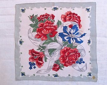 Floral Handkerchief, Red and Blue Flowers, Vintage Kimball Masterpiece Label