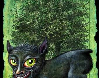 Year of the dog art print, Penghou: Chinese tree spirit, Japanese dog creature Hōkō yokai, Oddity curiosity, Chinese New Year, Halloween dog