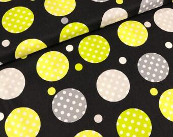 Cotton of Kensington Contempo dots black-grey-lime (13.90 EUR / meter)