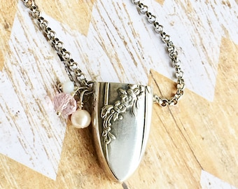 Silverware Aromatherapy Necklace  Vintage Diffuser Birthday Gift Essential Oils For Her Wedding Gift Unique Spoon Jewelry Knife End Upcycled