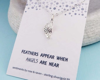 Angel Wing Necklace - sterling silver - message card