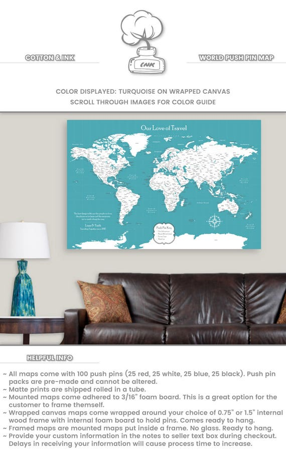 World map guest book canvas wedding gift for bride and groom gumiabroncs Images