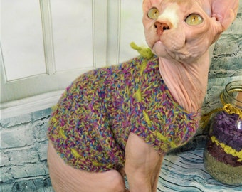 FREE shipping, Colorful sweater, Mohair, Sphynx Cat Clothes, clothes for cat, sweater for cat, sphynx clothes, handmade